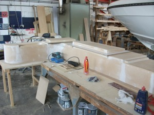 Albert, one of our boat builders is busy building the plug to take a moulding off to make the outside seating area.